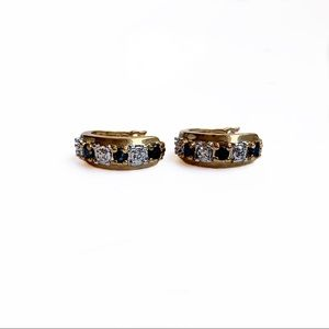 G. P. Sterling Sapphire & Diamond Hoop Earrings
